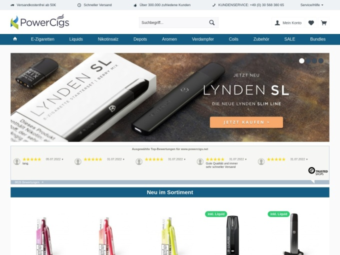 Screenshot des Onlineshops von PowerCigs