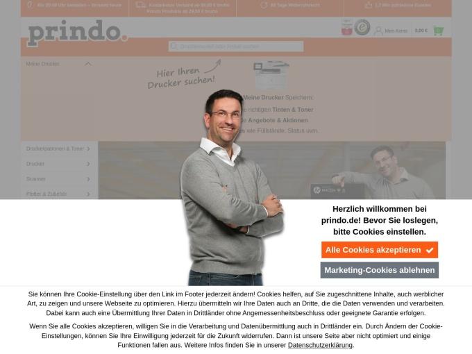 Screenshot des Onlineshops von Prindo