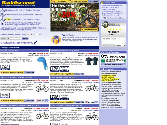 Screenshot des Onlineshops von Raddiscount