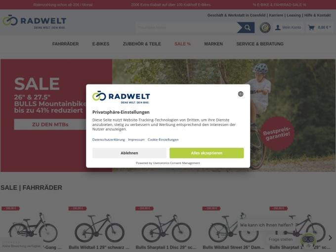 Screenshot des Onlineshops von RADWELT Shop
