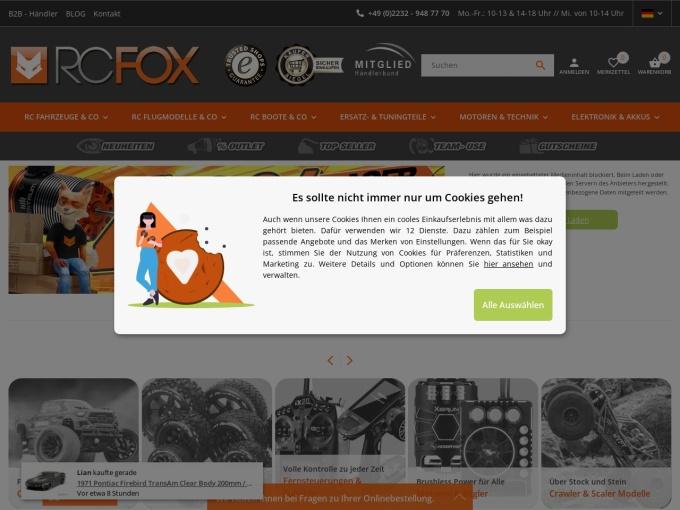 Screenshot des Onlineshops von RCFOX