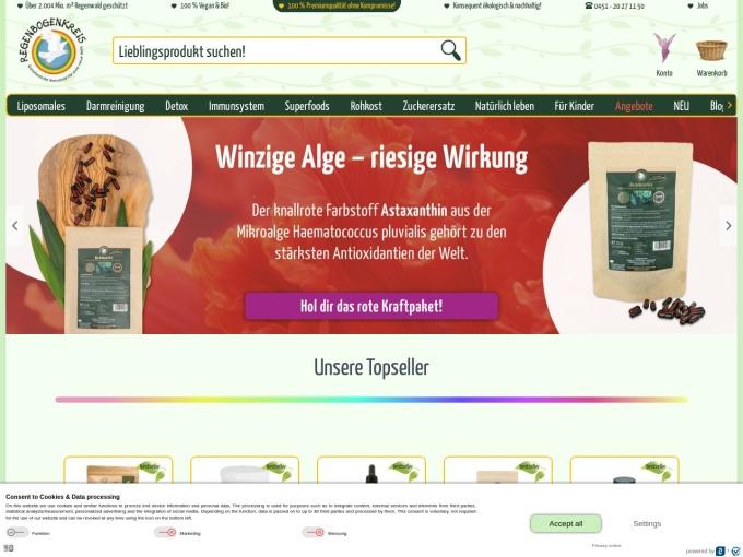 Screenshot des Onlineshops von Regenbogenkreis