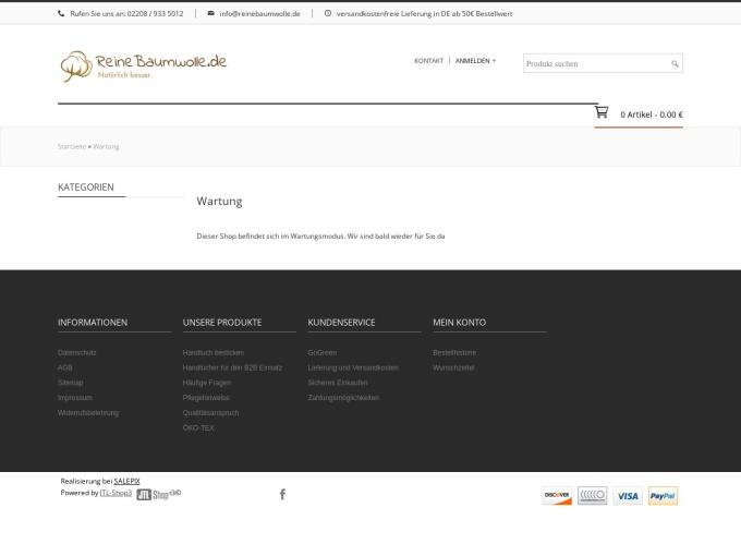 Screenshot des Onlineshops von ReineBaumwolle