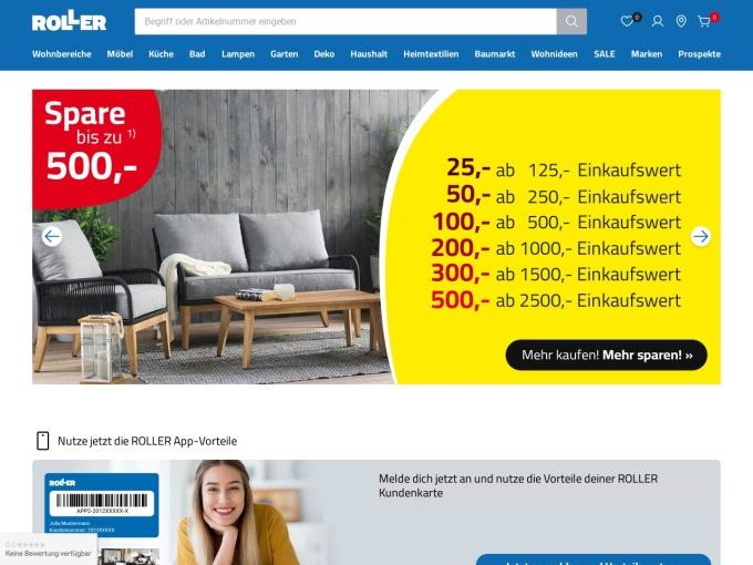 Screenshot des Onlineshops von ROLLER