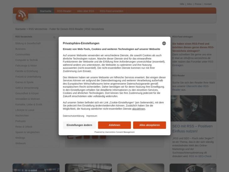 RSS Verzeichnis - Futter für Deinen RSS-Reader