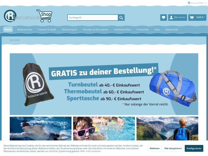 Screenshot des Onlineshops von Rutscherlebnis-Shop