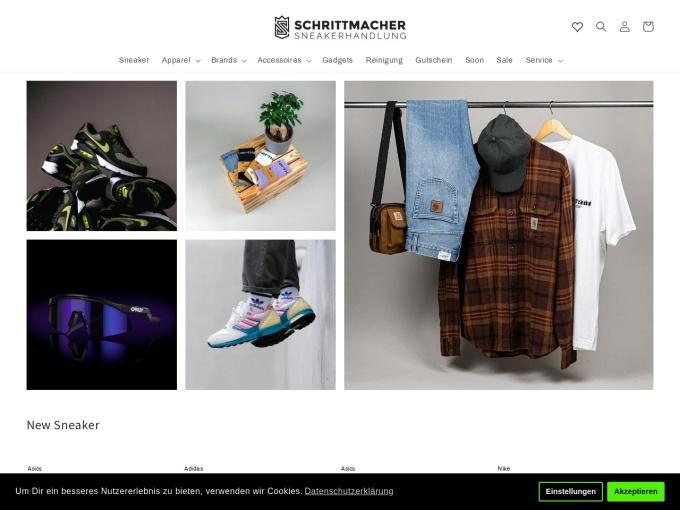 Screenshot des Onlineshops von Schrittmacher