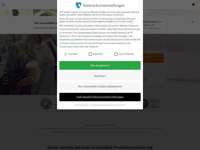 Screenshot des Onlineshops von Schutzklick