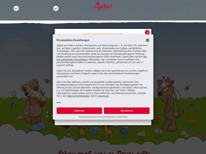 Screenshot des Onlineshops von sigikid