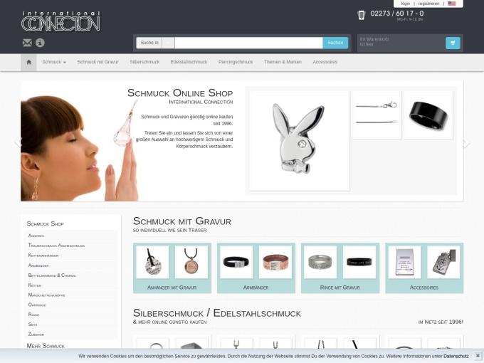 Screenshot des Onlineshops von Silberschmuck