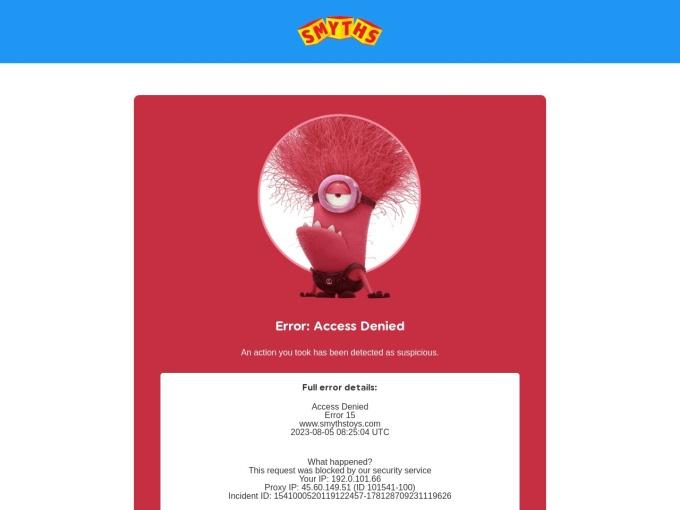 Screenshot des Onlineshops von Smyths Toys