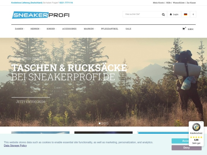 Screenshot des Onlineshops von Sneakerprofi