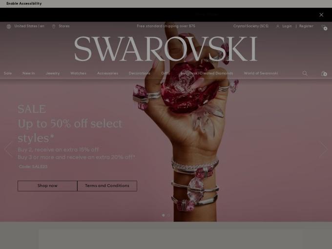Screenshot des Onlineshops von SWAROWSKI