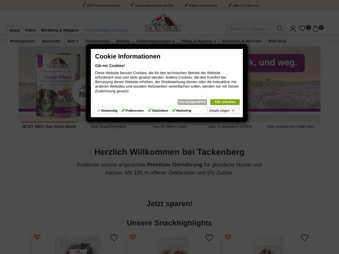 Screenshot des Onlineshops von Tackenberg