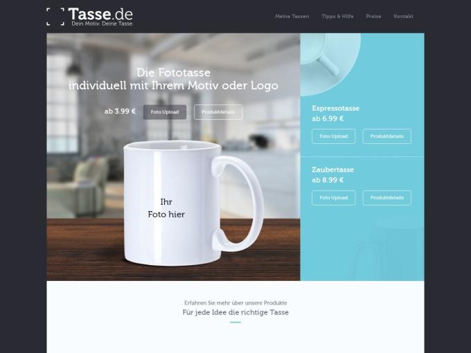 Screenshot des Onlineshops von Tasse.de