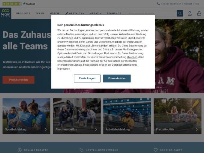 Screenshot des Onlineshops von TeamShirts