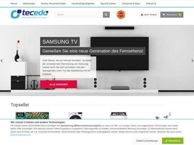 Screenshot des Onlineshops von Tecedo
