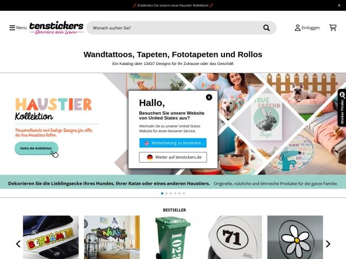 Screenshot des Onlineshops von Tenstickers