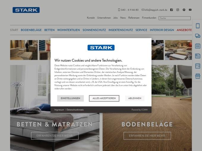 Screenshot des Onlineshops von Teppich Stark