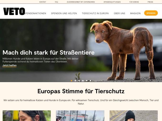 Screenshot des Onlineshops von Tierschutz Shop