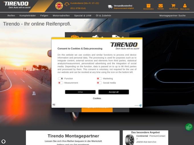 Screenshot des Onlineshops von Tirendo