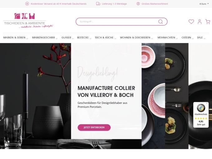 Screenshot des Onlineshops von Tischideen & Ambiente