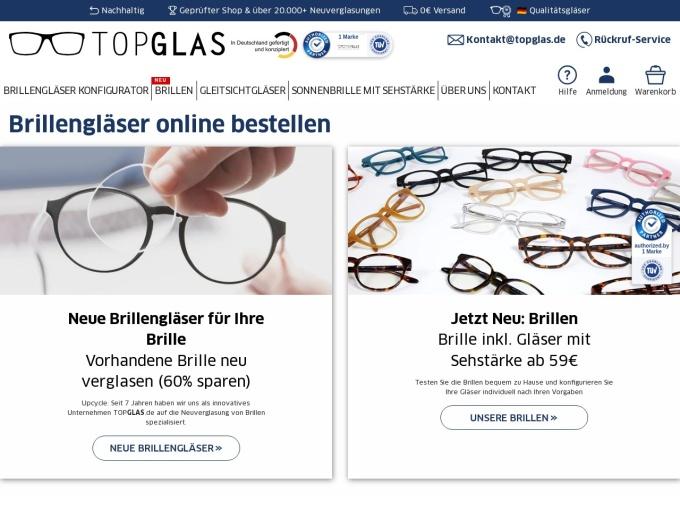 Screenshot des Onlineshops von TopGlas