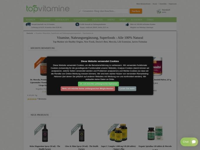 Screenshot des Onlineshops von topvitamine