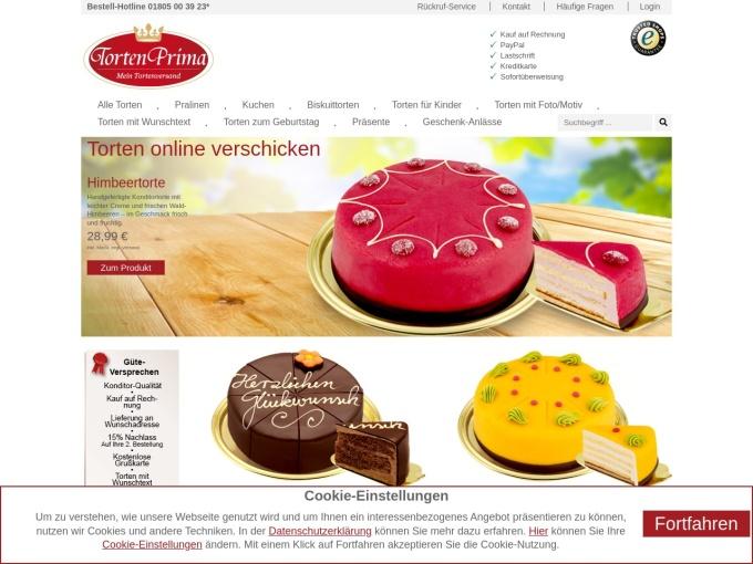 Screenshot des Onlineshops von TortenPrima