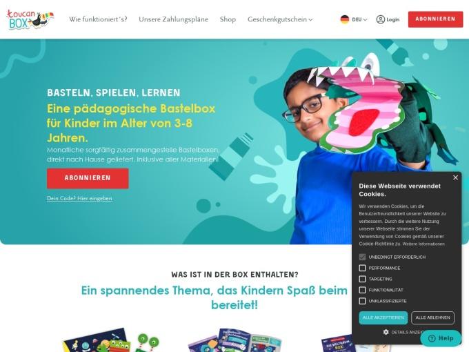 Screenshot des Onlineshops von toucanBox