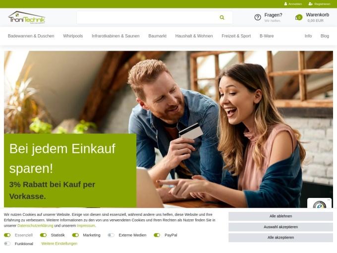 Screenshot des Onlineshops von TroniTechnik