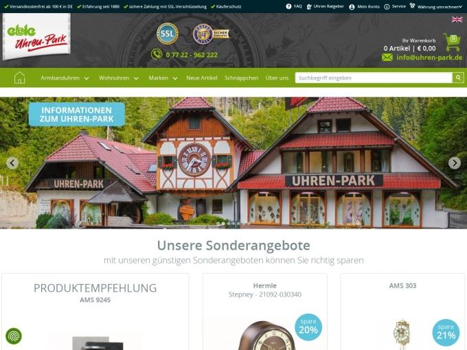 Screenshot des Onlineshops von Eble Uhren Park