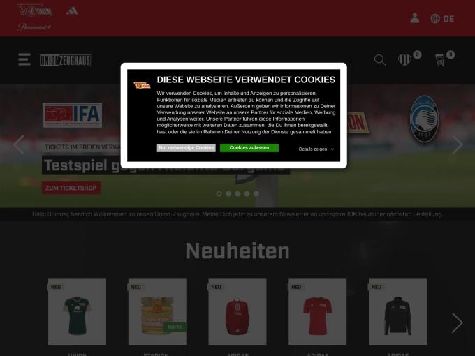 Screenshot des Onlineshops von Union Zeughaus