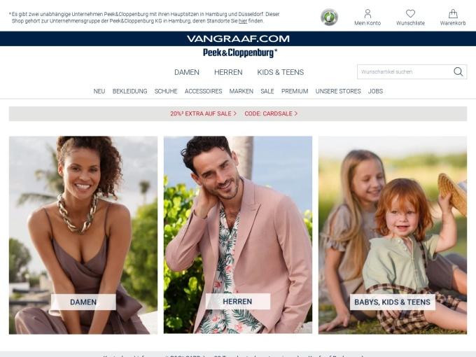 Screenshot des Onlineshops von VAN GRAAF