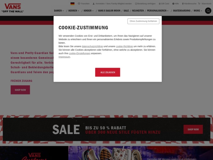 Screenshot des Onlineshops von VANS