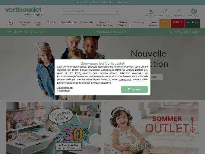 Screenshot des Onlineshops von Vertbaudet
