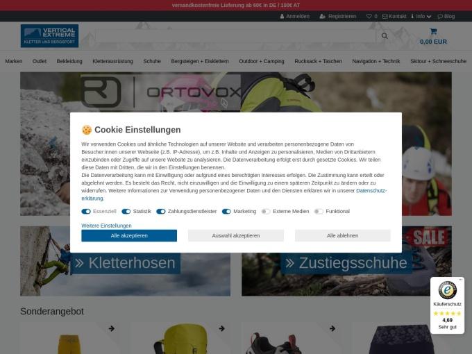 Screenshot des Onlineshops von VerticalExtreme
