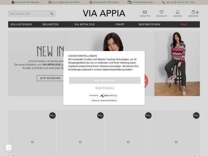 Screenshot des Onlineshops von VIA APPIA