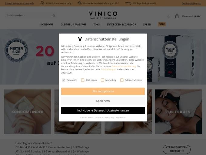 Screenshot des Onlineshops von Vinico