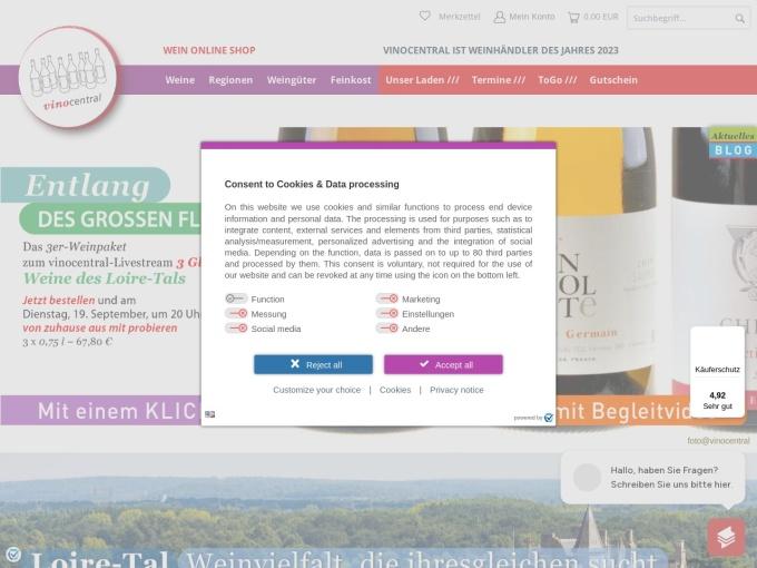Screenshot des Onlineshops von vinocentral