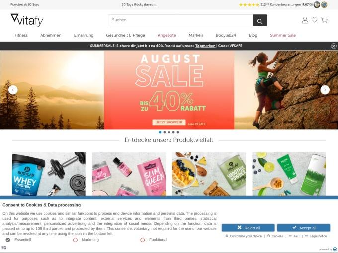Screenshot des Onlineshops von vitafy