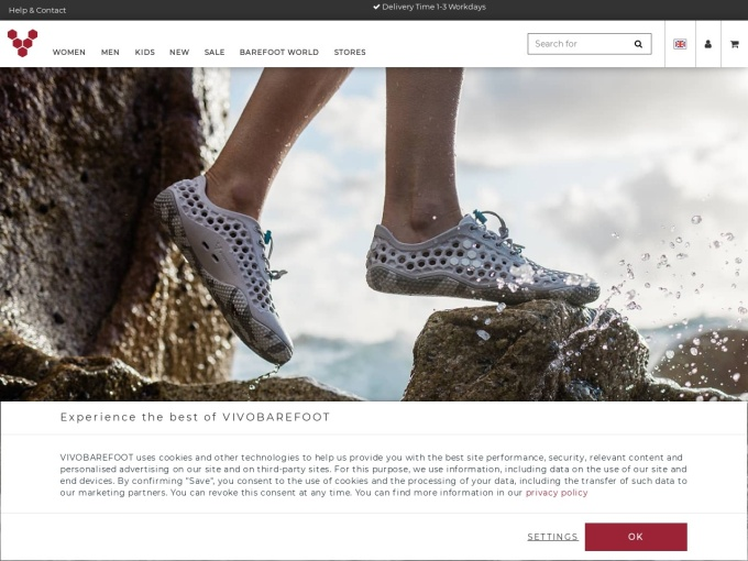 Screenshot des Onlineshops von VIVOBAREFOOT