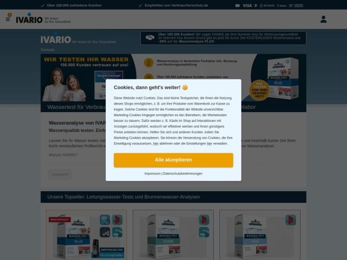 Screenshot des Onlineshops von Ivario