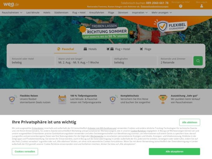 Screenshot des Onlineshops von weg.de