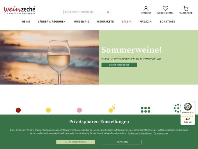 Screenshot des Onlineshops von weinzeche