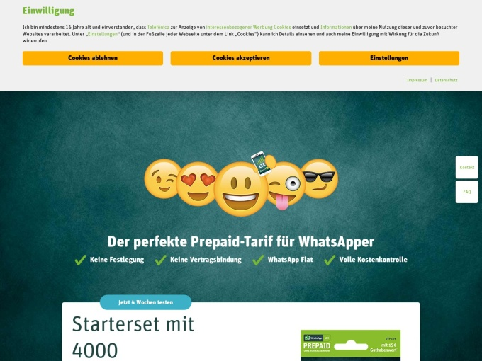 Screenshot des Onlineshops von WhatsApp SIM