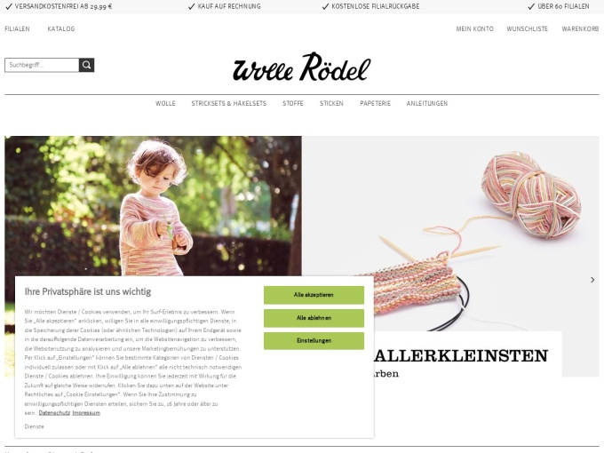 Screenshot des Onlineshops von Wolle Rödel