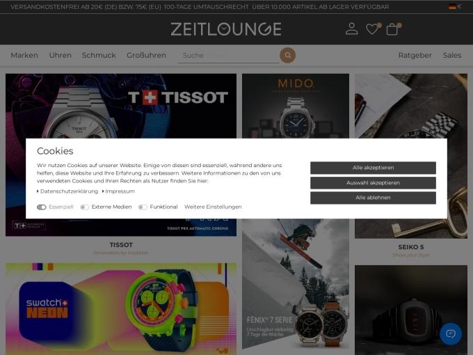 Screenshot des Onlineshops von Zeitlounge