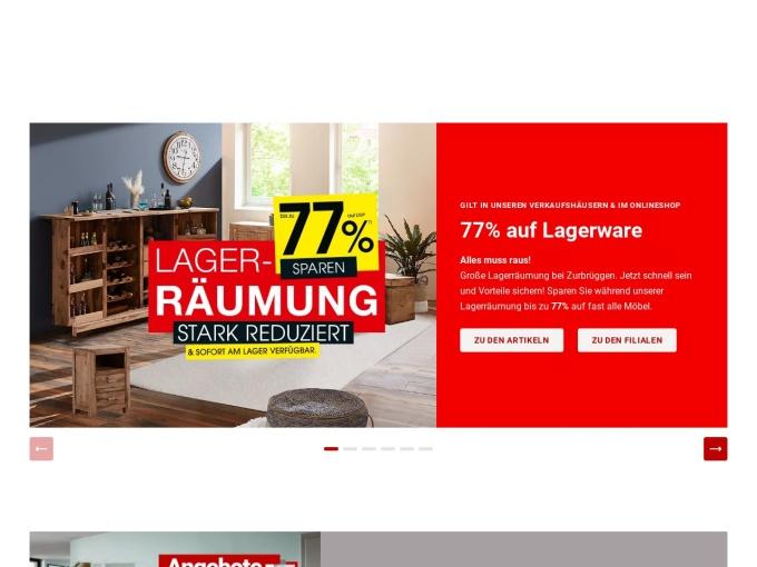 Screenshot des Onlineshops von Zurbrüggen