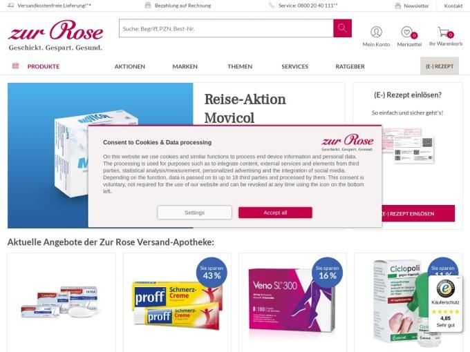 Screenshot des Onlineshops von zur Rose